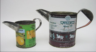 jugs made from recycled tin